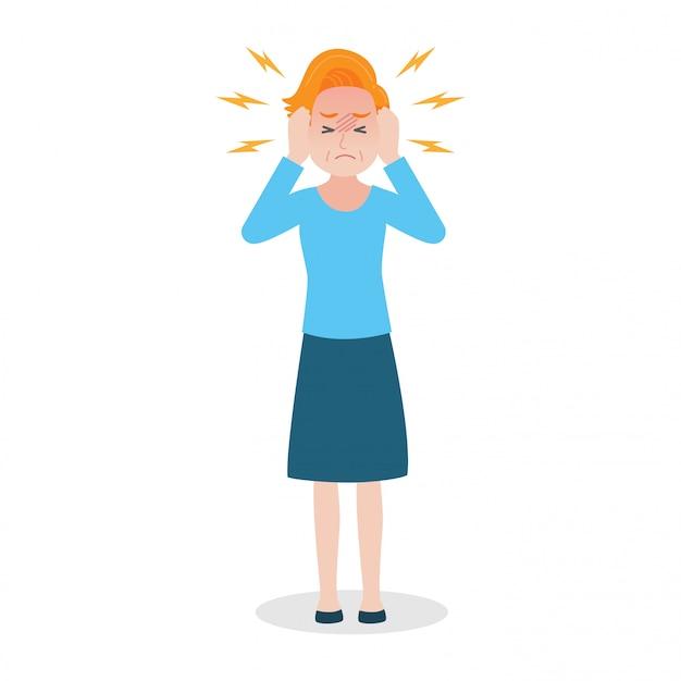 Vieille femme a concept de soins de santé médicaux maux de tête coup de chaleur. Vecteur Premium