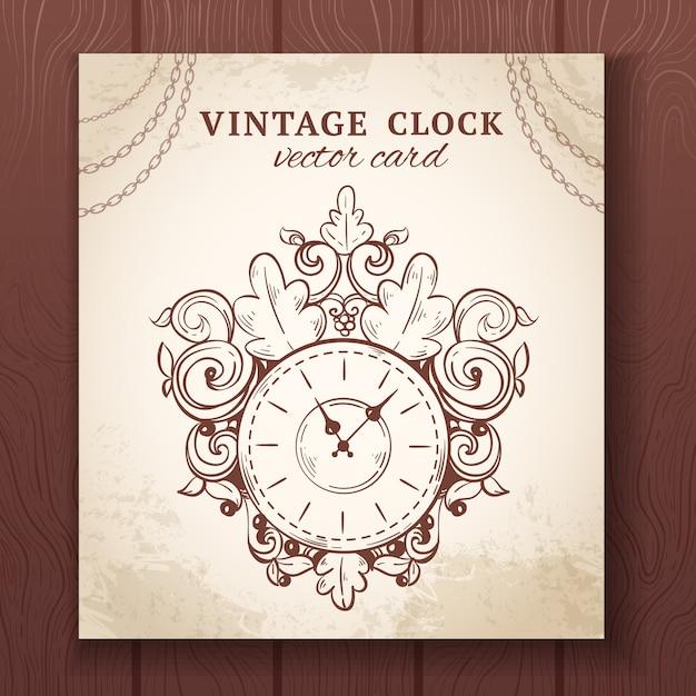 Vieille horloge murale esquisse rétro vintage avec illustration vectorielle de décoration papier carte Vecteur gratuit
