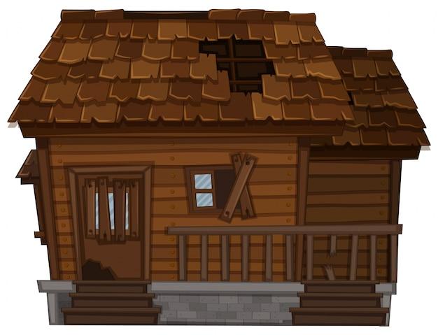 Vieille maison en bois en mauvais état Vecteur gratuit