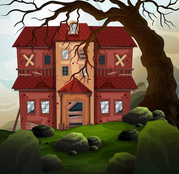 Vieille maison dans la forêt Vecteur gratuit