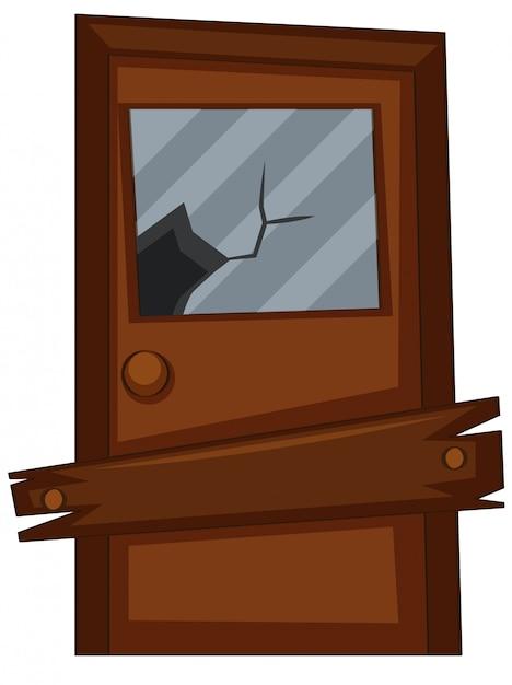 Vieille porte avec verre brisé Vecteur gratuit