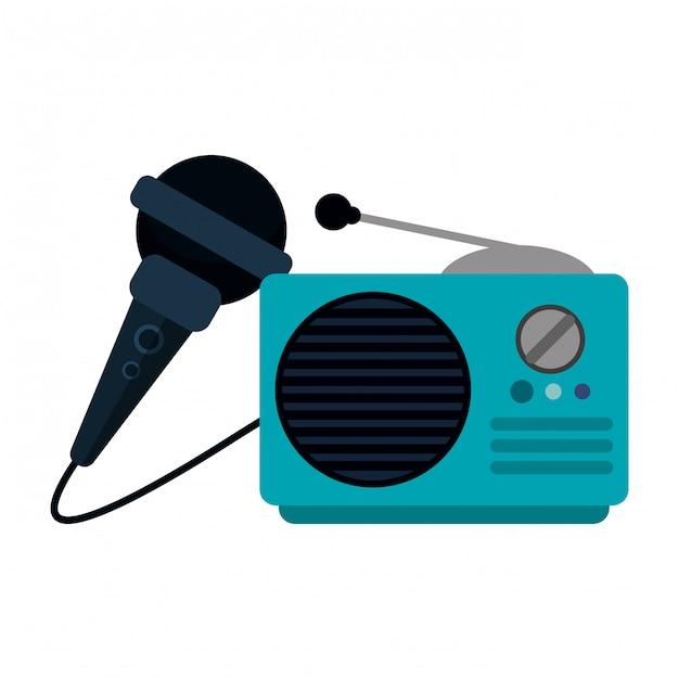 Vieille radio stéréo et microphone Vecteur Premium
