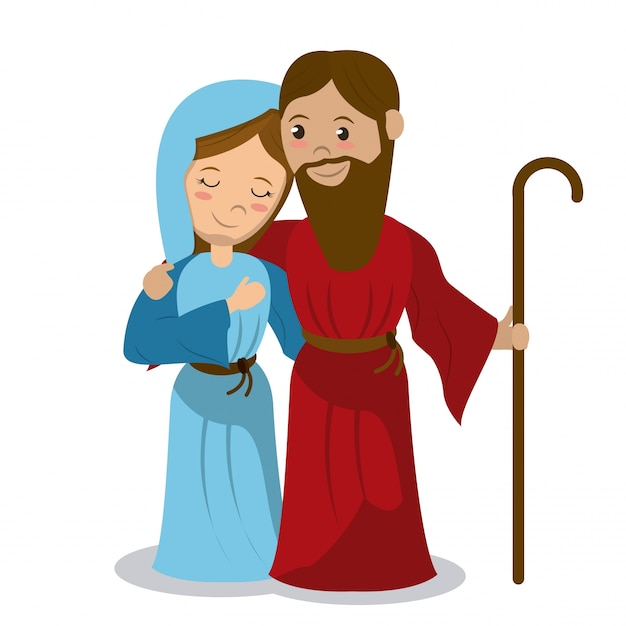 Vierge marie et joseph tenant un bâton étreignant Vecteur Premium