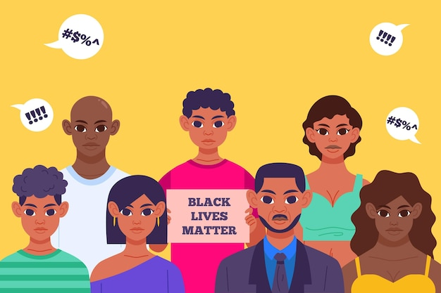 Les Vies Noires Comptent L'illustration Avec Les Gens Vecteur gratuit