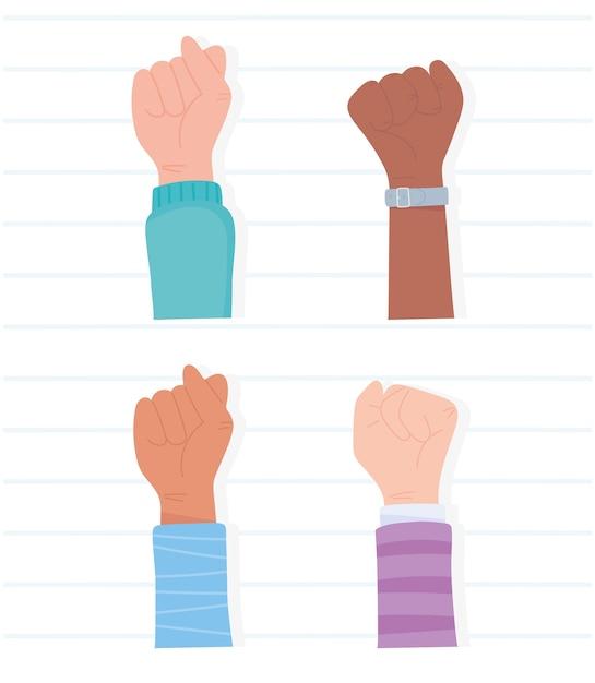 Les Vies Noires Comptent Pour La Protestation, La Diversité Des Mains Levées, La Campagne De Sensibilisation Contre La Discrimination Raciale Vecteur Premium