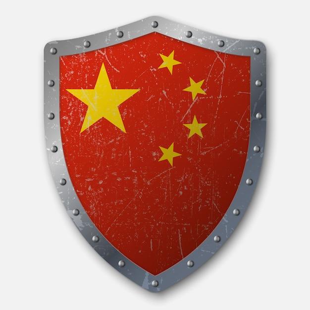 Vieux bouclier avec drapeau de la chine Vecteur Premium