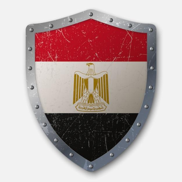 Vieux bouclier avec drapeau de l'egypte Vecteur Premium
