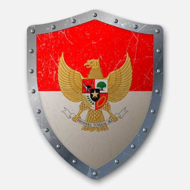 Vieux bouclier avec drapeau de l'indonésie Vecteur Premium