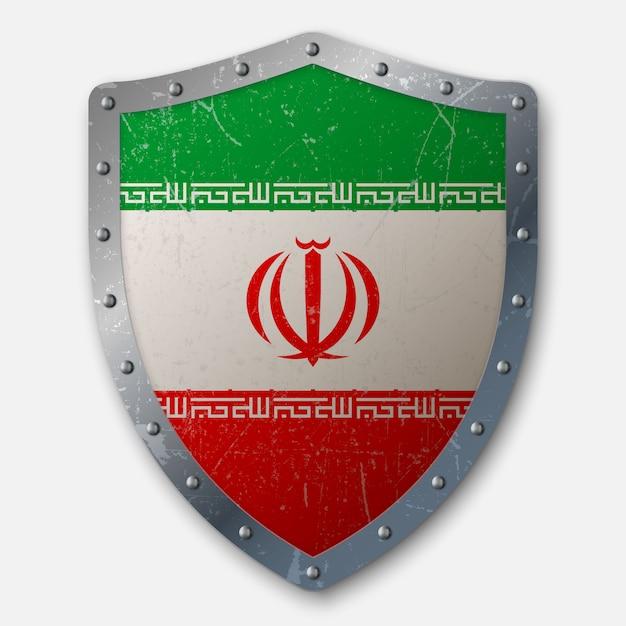 Vieux bouclier avec drapeau iranien Vecteur Premium
