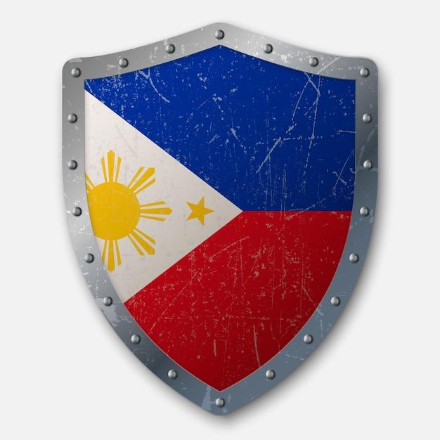 Vieux bouclier avec drapeau des philippines Vecteur Premium