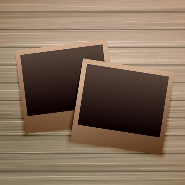 vieux cadres photo sur fond de bois t l charger des vecteurs gratuitement. Black Bedroom Furniture Sets. Home Design Ideas