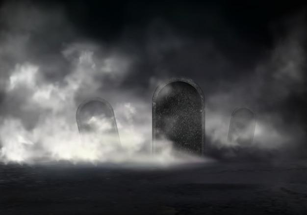 Vieux Cimetière Au Vecteur Réaliste De Nuit Avec Des Pierres Tombales En Pente Recouverte D'un épais Brouillard Dans L'obscurité Illust Vecteur gratuit
