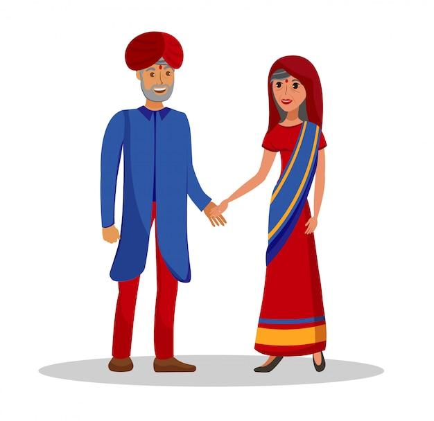 Vieux couple indien Vecteur Premium