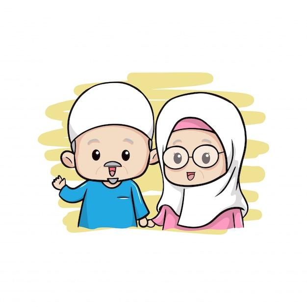 Le vieux couple musulman mignon Vecteur Premium