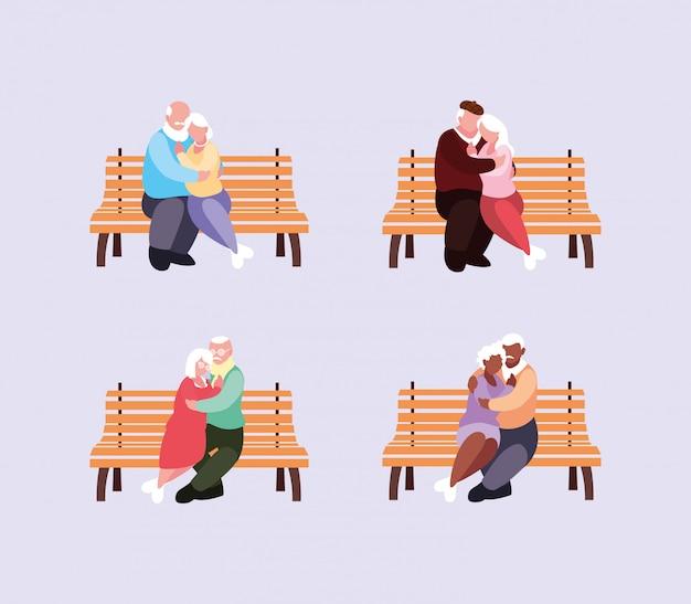 Vieux couples assis sur des chaises de parc Vecteur Premium
