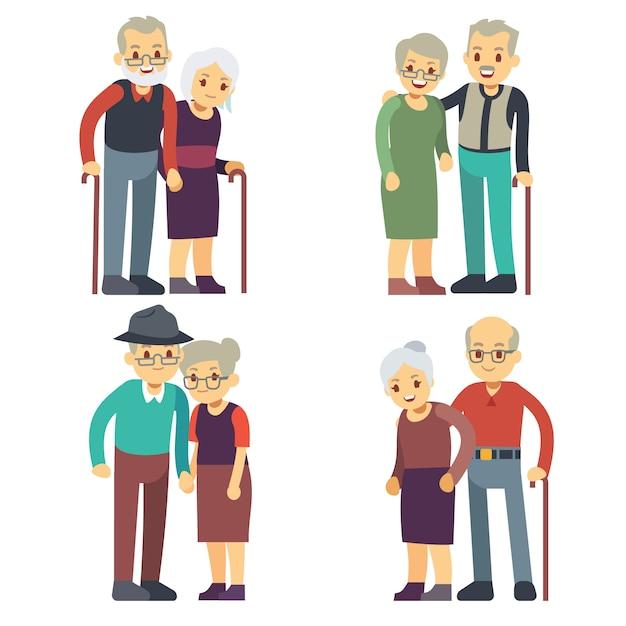 Vieux couples souriants et heureux. jeu de vecteur de personnages de dessin animé de familles âgées. grand-père et grand-mère en couple, femme et homme âgés illustration Vecteur Premium