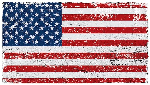 Vieux drapeau américain grungy Vecteur Premium