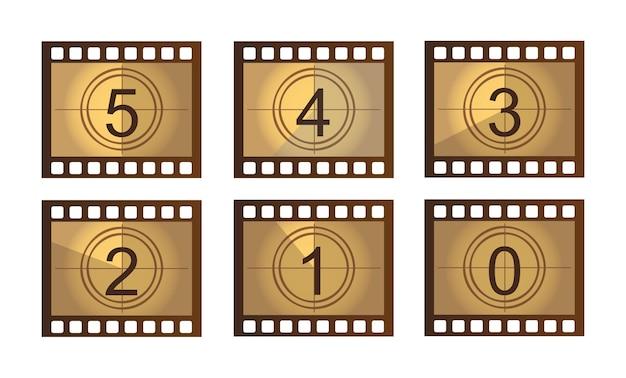 Vieux film compte à rebours isolé sur blanc vecteur de motif Vecteur Premium