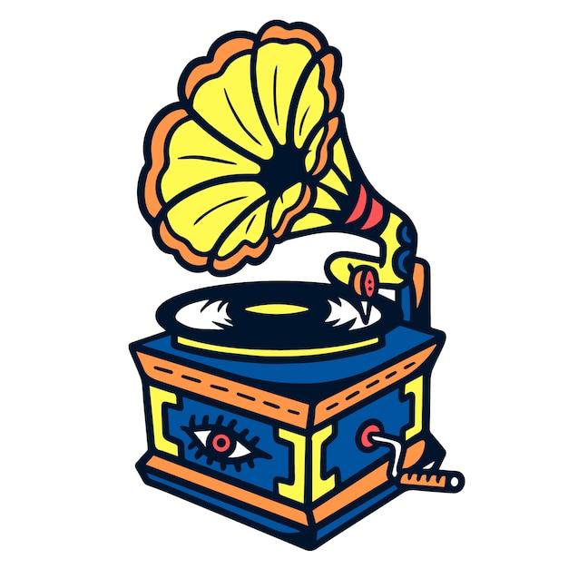 Vieux gramophone old school tattoo Vecteur Premium