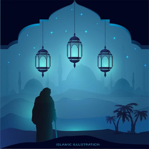 Vieux grand-père marche la nuit à l'aide d'un bâton à la main accompagné d'étincelles d'étoiles, mosquée, lanternes pour fond islamique illustratif Vecteur Premium