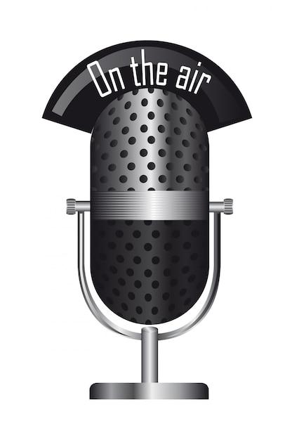 Vieux microphone Vecteur Premium