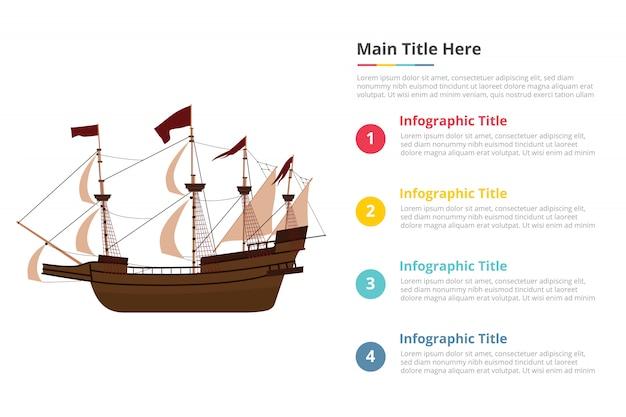 Vieux modèle d'infographie de navire avec quatre points Vecteur Premium