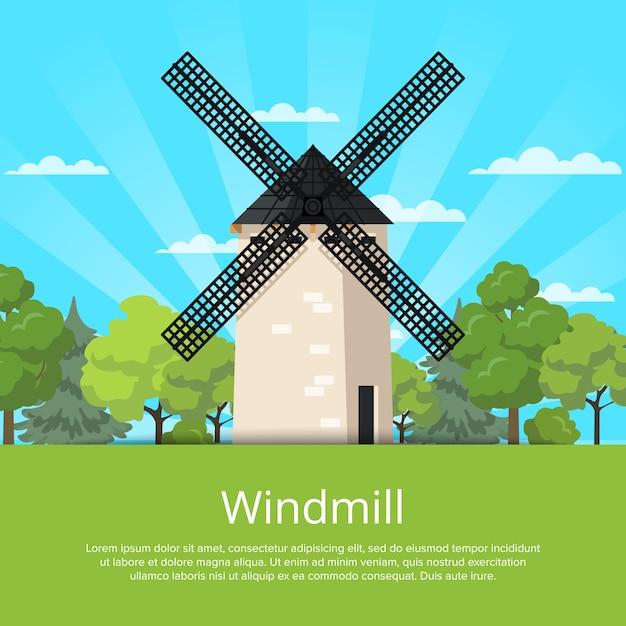 Vieux moulin de pierre sur la nature Vecteur Premium