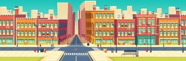 Vieux quartier de la rue, quartier du centre historique de la ville dans le dessin animé de la métropole moderne Vecteur gratuit