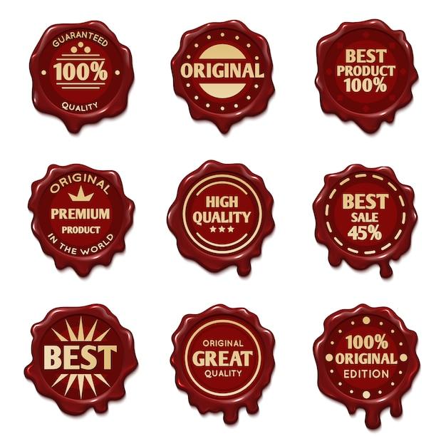Vieux timbres de cire avec stock de vecteur de texte publicitaire de qualité la plus fine Vecteur Premium
