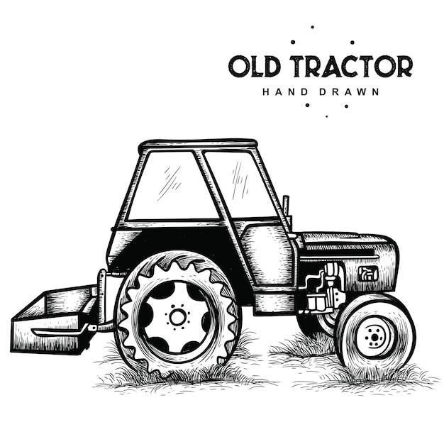 Vieux tracteur dessiné à la main Vecteur Premium