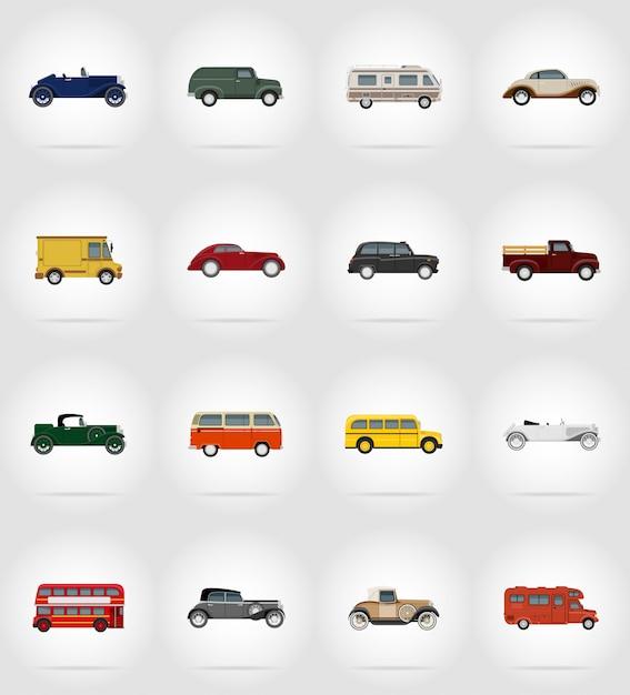 Vieux transport rétro set plat illustration vectorielle Vecteur Premium