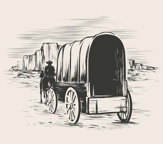 Vieux Wagon Dans Les Prairies Du Far West. Pioneer Sur Chariot De Transport De Chevaux Vecteur gratuit