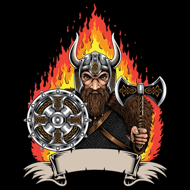 Viking Norseman Avec Illustration De Ruban Vecteur Premium