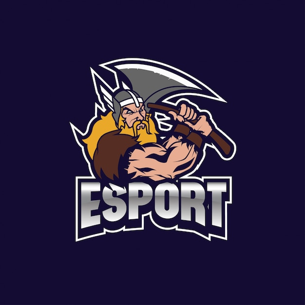 Viking thor logo e sport Vecteur Premium