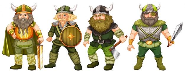 Vikings en costume vert tenant des armes Vecteur gratuit