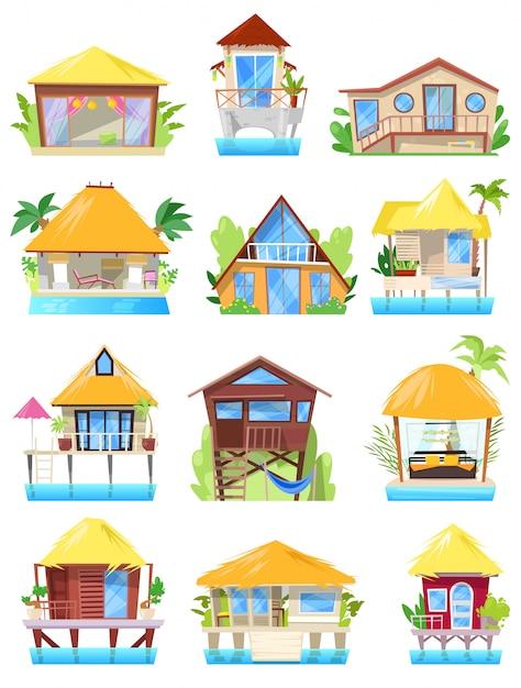 Villa Tropical Resort Hotel Sur La Plage De L'océan Ou La Façade De L'immeuble Au Paradis Ensemble D'illustration De Bungalow Dans Le Village Isolé Sur Fond Blanc Vecteur Premium