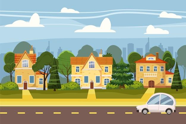 Village De Banlieue De Grande Ville, Arbres, Route, Ciel Et Nuages. Immobilier, Vente Et Location Maison, Manoir Vecteur Premium
