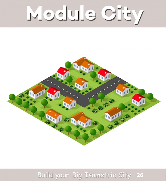 Village de campagne de maisons en rangée et de maisons rurales avec des routes, des rues, des arbres Vecteur Premium