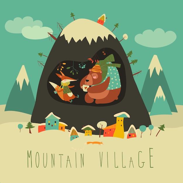 Village couvert de neige par la montagne Vecteur Premium