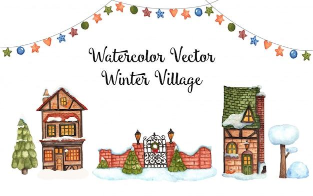 Village d'hiver de vecteur aquarelle Vecteur Premium