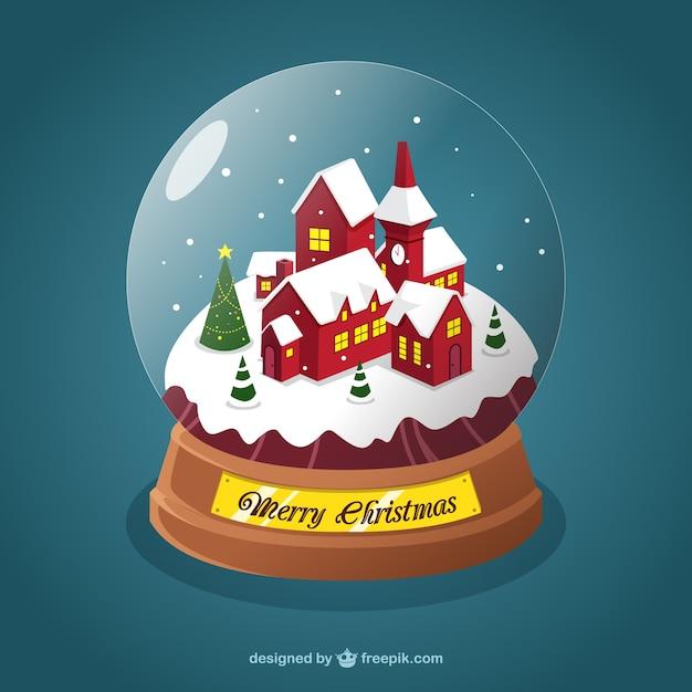 Village De Noël à L'intérieur D'une Boule De Cristal | Vecteur