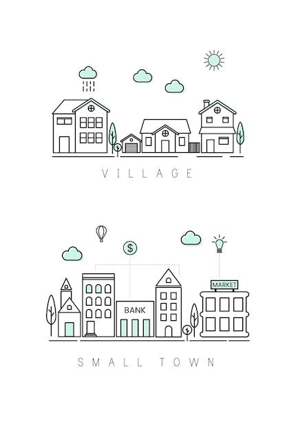 Village et petite ville Vecteur gratuit
