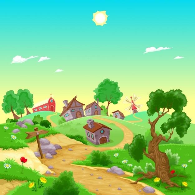 Village Vecteur gratuit