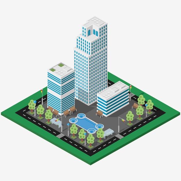 Ville d'affaires de la mégapole isométrique Vecteur Premium