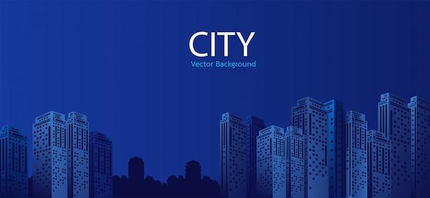 Ville au fond de la nuit Vecteur Premium
