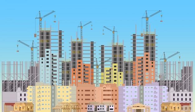 Ville de construction en construction Vecteur Premium
