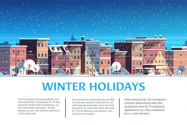 Ville Construction Maisons Nuit Hiver Rue Paysage Urbain Pour Les Vacances De Noël Vecteur Premium