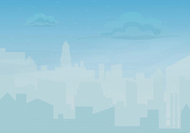 Ville de dessin animé pluvieuse et brumeuse Vecteur Premium