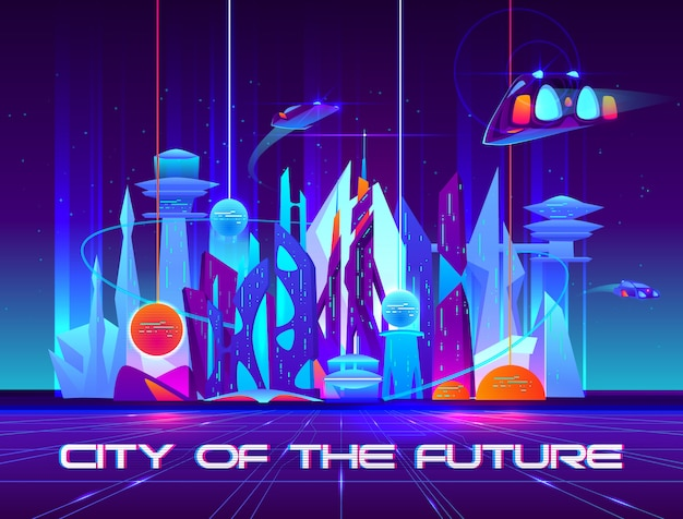 Ville du futur la nuit avec ses néons vibrants et ses sphères brillantes. Vecteur gratuit