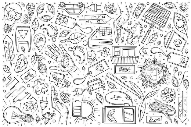 Ville écologique dessinés à la main sur fond doodle Vecteur Premium
